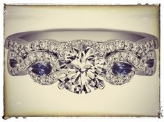 Infinity Engagement Ring & matching Wedding Ring Blue Sapphire Pear Accents