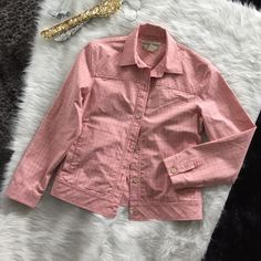 """Tommy Bahama pink red plaid jacket stretch XS 2 Tommy Bahama Light Jacket.  Size XS 2. Pink and reddish colored plaid. Buttons up. Would be great over a solid shirt with jeans or khakis. Approx measurements while flat = length = 22"""", bust = 18"""", sleeve length = 22"""". Great/excellent condition. I can't find any flaws. Tommy Bahama Jackets & Coats"""