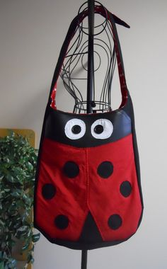 Ladybug Tote or Large Purse by SarahsStitchesMI on Etsy, $40.00
