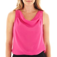 A bright pop of color at a great price. Can go with black or grey bottoms. Rose Valley. Worthington® Drape Neck Blouse - JCPenney