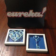 Shadow box -  Heart & key. Encontre essas e outras ideias em:  www.elo7.com.br/eutiveumaideia