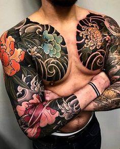 Traditional Japanese Tattoo Sleeve, Japanese Leg Tattoo, Japanese Tattoo Designs, Japanese Sleeve Tattoos, Japanese Style, Koi Tattoo Sleeve, Full Sleeve Tattoos, Tattoo Sleeve Designs, Full Body Tattoo