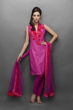 Pink indian suit with red resham & crystal work