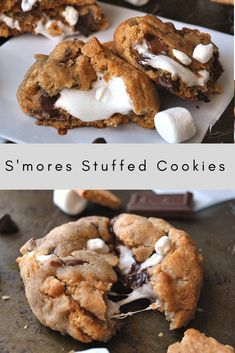 There's nothing better than these s'mores cookies. They are a constant family hit and so worth trying at least once! #smores #cookies #stuffedcookies Unique Cookie Recipes, Yummy Cookie Recipes, Chocolate Chip Recipes Easy, Recipes For Desserts, Easy Desert Recipes, White Chocolate Desserts, Chocolate Almond Bark, Camping Desserts, Mint Chocolate Chip Cookies