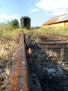 Abandoned passenger rail car Yreka California track view