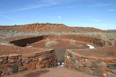 Ballcourt at Wupatki National Monument, Arizona, AD 1075-1250, on which the Mesoamerican Ball Game was played.