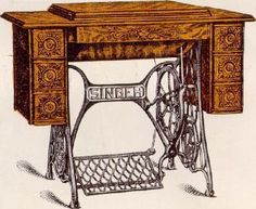 Singer's cabinet tables 5 and 6 for model 15, 66, 115, and 127 sewing machines.