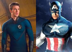 Chris Evans scores two cherry roles in two separate Marvel mainstays.The Human Torch and Captain America. I wonder what they would do if they ever attempt to incorporate any more of the Marvel Universe in later movies? Captain America Funny, Captain America Civil War, Chris Evans Captain America, Chris Evans Kiss, Chris Evans Funny, Blue And White Suit, Avengers Images, Human Torch, Phil Coulson