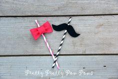 Baby Shower gender reveal straws  Girl Baby by PrettyPrettyPomPoms, $18.00