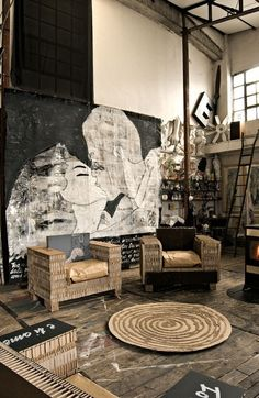 Industrial/eclectic living space. Stripped back, raw and full of character. Great feature wall.        http://pinterest.com/pin/143693044332451151/
