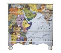 Map Chest by Bryonie Porter Decoupage Map Wallpaper Dressers & Kids Map Decor Wallpaper Dresser, Wallpaper Furniture, Map Wallpaper, Decoupage Furniture, Funky Furniture, Repurposed Furniture, Furniture Projects, Furniture Makeover, Painted Furniture
