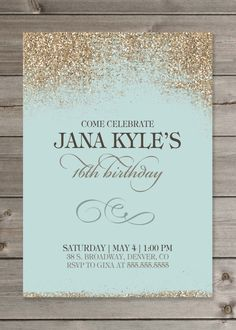 Girl's Birthday Party Glitter Invitation by GaiaDesignStudios but pink 18th Birthday Party, Sweet 16 Birthday, Birthday Party Invitations, Girl Birthday, Wedding Invitations, Birthday Brunch, Invites, Brunch Invitations, Sweet 16 Invitations
