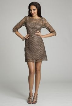 Short Dresses - Metallic Crochet Lace Dress from Camille La Vie and Group USA