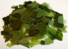 "Bullseye ""Jungle Greens"" Leaf Opal, Light and Dark Aventurine Green Confetti Glass Chips ~ New!"