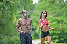 black couples traveling together | Cute African-American couple working out together in park - jogging ...