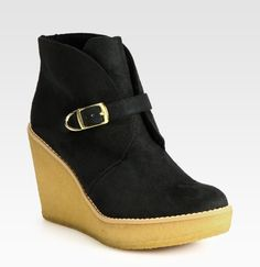Faux Suede and Faux Shearling Wedge Ankle Boots - Lyst