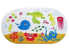 Salinka Ocean Anti Slip Baby Bath Mat - Phatalates and Lead FREE - Non Slip Mat for Bathtub and Shower - Durable Mildew Mold Resistant PVC - Handy Bag for Easy Transport - Free Ebook -  Anti Slip Bath Mat by Salinka Help your baby have fun without the fear of slipping while taking a bath with top quality anti slip bath mat by Salinka - High quality durable PVC material with strong suction cups that attach the mat securely to the smooth bath surface - Vibrant and fun animal desi...