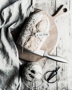 bread, linen, scissors and twine by Kim Klassen