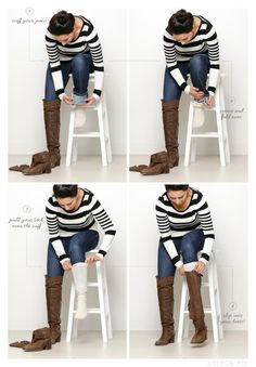 How to wear your bootcut jeans with your favorite knee high boots!