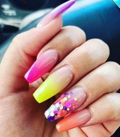 Neon coffin shaped baby boomer nails