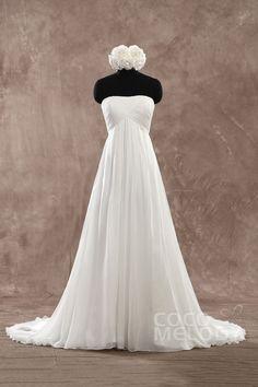 Perfect Sheath-Column Strapless Empire Train Chiffon Ivory Sleeveless Lace Up-Corset Wedding Dress with Pleating PR1436