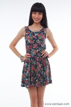 Summer Floral Dress Blue - Esnique
