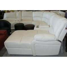 Full Leather Corner Lounge Suite with Recliners  Chaise - Black or Oyster White