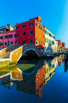 Colorful reflections in Burano, Veneto, Italy.