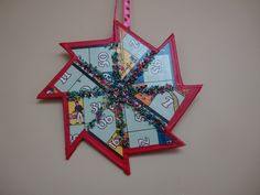Christmas Star decoration upcycled from old damaged board game