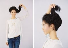 Short on time, but want to craft a cute hairstyle? While you may not always have time for a beautiful blowout, there are many different ways you can style your gorgeous naturally curly hair that won't take all day. Check out these 10 easy tutorials we scouted just for you! Perfect for a day you are running late for class or church!     UPDO (click photos for instructions) Via Pintrest   HALF TWIST Via Pintrest   BRAIDED TOP KNOT Via Pintrest   HALF...
