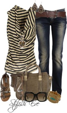 Color Scheme Striped Taupe Jeans