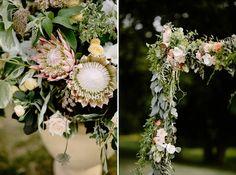 Protea Flowers. Summer Camp Wedding. Eucalyptus Garland. Backyard Wedding. Fountain Point Resort. Fun and Unique Wedding Photography. Lake Leelanau. www.bradandjen.com