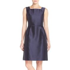 Women's Ellen Tracy Satin Fit & Flare Dress ($178) ❤ liked on Polyvore featuring dresses, navy, fit and flare cocktail dress, fit flare dress, blue fit-and-flare dresses, navy blue dress and fit and flare dress