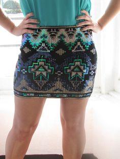Sequin Aztec Skirt in Black - Hillary's Boutique
