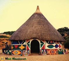 Photo about A beautiful colorful traditional ethnic African round hut of the Ndbele tribe in a village in South Africa in the peaceful evening sun. Image of game, cabin, clay - 2403495 African Hut, African Tribes, African Symbols, African Patterns, African Style, Mud House, House Floor, Afrique Art, Vernacular Architecture