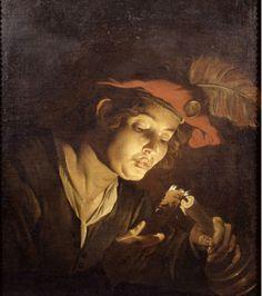Mathias Stomer.  Giovane con candela.  1640-1650 Accademia Carrara