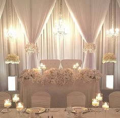 Ideas Wedding Reception Head Table Backdrop Beautiful For 2019 Wedding Reception Decorations Elegant, Wedding Reception Backdrop, Wedding Centerpieces, Elegant Wedding, Dream Wedding, Trendy Wedding, Wedding Ideas, Reception Ideas, Diy Wedding