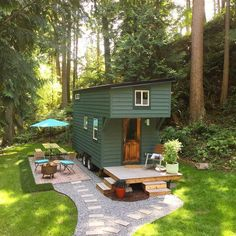 This is a 144 sq. tiny house on Guemes Island, WA. And if you've ever wanted to test-drive tiny house living pack your bags because this tiny house is Tiny House Swoon, Tiny House Plans, Tiny House On Wheels, Tiny House Exterior Wheels, House 2, Tiny House Living, House Floor, Small Room Design, Tiny House Design