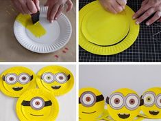We just saw the new Minions movie, and the kids love it! My little minions wanted to make some minion-inspired crafts, so I came up with these quick paper plate Minion hats. Minions Birthday Theme, Minion Party Theme, Birthday Parties, Candy Bar Minions, Craft Activities For Kids, Crafts For Kids, Diy Crafts, New Minions Movie, Minion Party Decorations