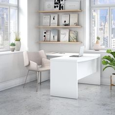 Echo Bow Front L-Shaped Computer Desk creates a strong presence perfect for those whose passion for business is only matched by their fashionable tastes. Blending a pure white finish with appealing wide lines, the contemporary desk inspires and gives a residential feel to the modern workspace. Thick and durable, a thermally fused laminate finish endures years of everyday use to maintain the elegance of the white desk. Spread out on the spacious L shaped surface with your computer, paperwork…