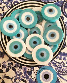 evil eye soaps Felt Crafts, Diy And Crafts, Greek Evil Eye, Greek Blue, Baptism Decorations, Mama Cat, Lucky Charm, Xmas, Christmas