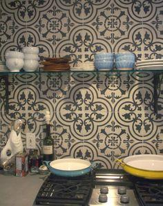Cuban tile backsplash for the kitchen.