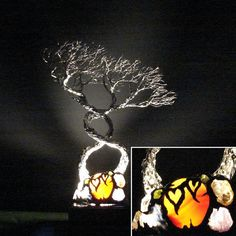 Wire Tree Of Life, Soul Mate Spirits sculpture, Infinite Love of Two, sculptured hearts, table LED night light, gift for her or him, 11 ""