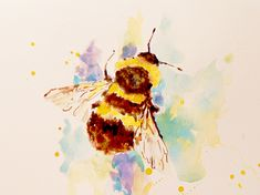 A little watercolour bee - I am not sure if it is a honey-bee though