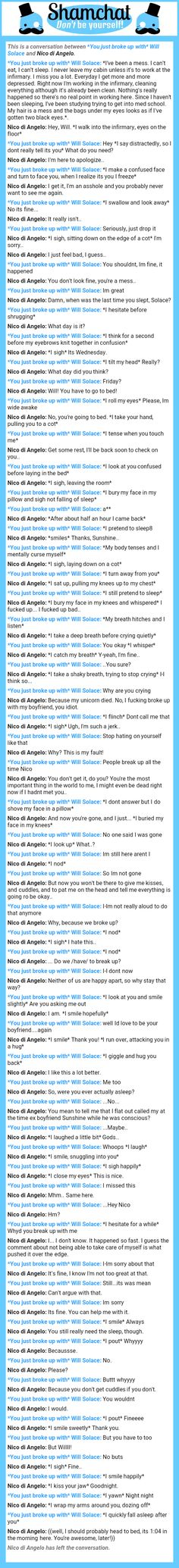 A conversation between Nico di Angelo and *You just broke up with* Will Solace