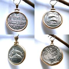 Gold and Silver Pendant Ancient Greek Coin, Byzantine. Dolphins Couple, Women's Pendant Handmade gift for her Handmade Gifts For Her, Handmade Jewelry, Nose Earrings, Turtle Jewelry, Coin Pendant, Minimalist Earrings, Silver Pendants, Sterling Silver Chains, Byzantine