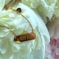 Stella and Dot engravable bar necklace #wifey