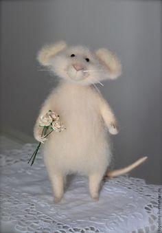 Купить Мышонок Персик - мышка, мышонок, мышь игрушка, мышка игрушка, игрушка из шерсти