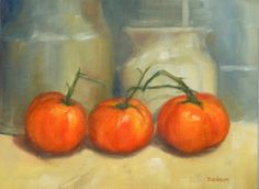 """""""Three Amigos Tomatoes"""" Oil on canvas, 9"""" x 12"""". Home grown tomatoes from last summer were the subject of this painting. This group of friends were busy modeling in front of my flour and sugar canisters."""