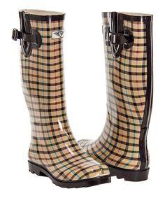 Tan & Black Plaid Rain Boot #zulily #zulilyfinds